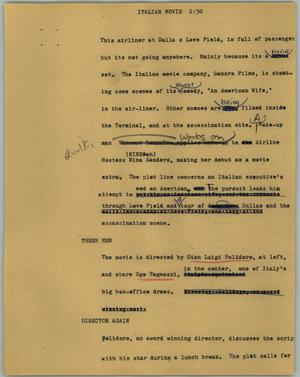 Primary view of object titled '[News Script: Italian movie]'.