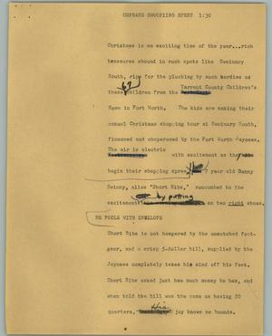 Primary view of object titled '[News Script: Orphans shoopiing spree]'.