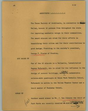 Primary view of object titled '[News Script: Architects]'.