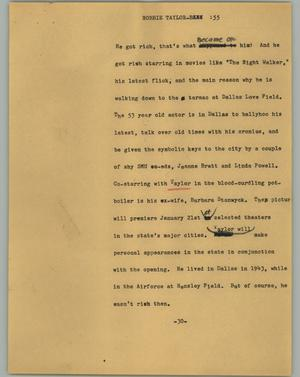 Primary view of object titled '[News Script: Robbie Taylor]'.
