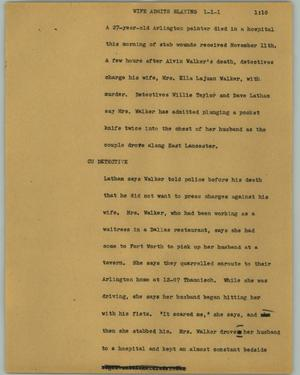 Primary view of object titled '[News Script: Wife admits slaying]'.