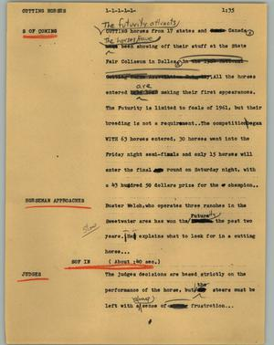 Primary view of object titled '[News Script: Cutting horses]'.