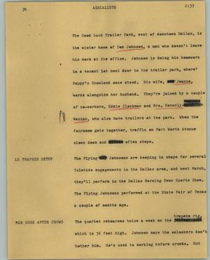 Primary view of object titled '[News Script: Aerialists]'.