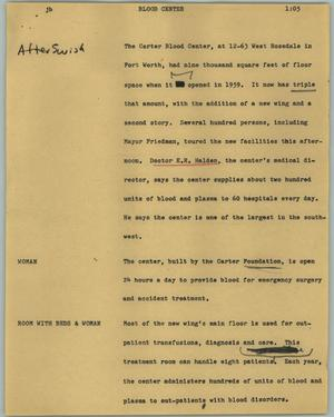 Primary view of object titled '[News Script: Blood center]'.
