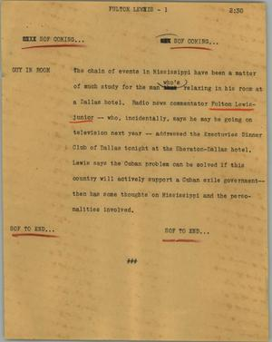 Primary view of object titled '[News Script: Fulton Lewis]'.