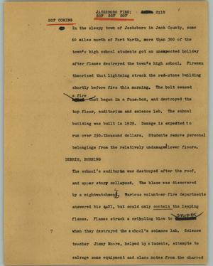 Primary view of object titled '[News Script: Jacksboro fire]'.