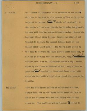 Primary view of object titled '[News Script: Blind secretary]'.