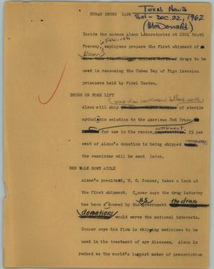 Primary view of object titled '[News Script: Cuban drugs]'.