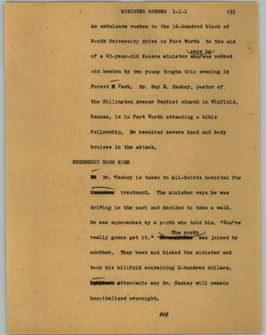 Primary view of object titled '[News Script: Minister robbed]'.