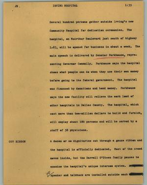 Primary view of object titled '[News Script: Irving hospital]'.