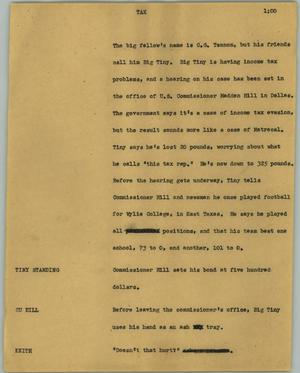Primary view of object titled '[News Script: Tax]'.