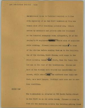 Primary view of object titled '[News Script: Gas inhalation]'.