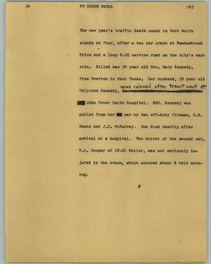 Primary view of object titled '[News Script: Ft Worth fatal]'.