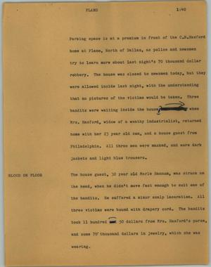 Primary view of object titled '[News Script: Plano]'.