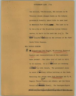 Primary view of object titled '[News Script: Government land]'.