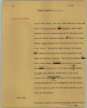 Primary view of object titled '[News Script: Carroll hearing]'.