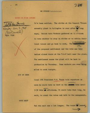 Primary view of object titled '[News Script: GM strike]'.