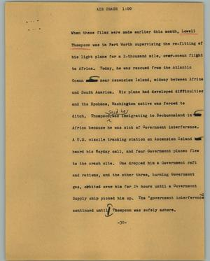 Primary view of object titled '[News Script: Air crash]'.