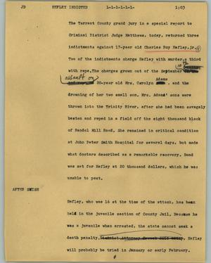 Primary view of object titled '[News Script: Hefley indicted]'.