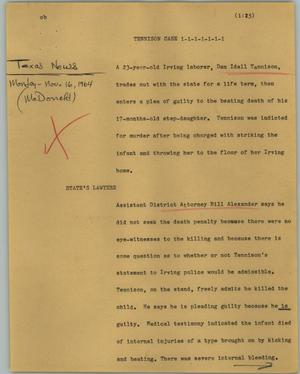 Primary view of object titled '[News Script: Tennison case]'.