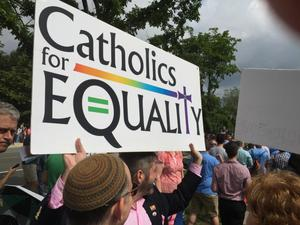 Primary view of object titled '[Catholics for Equality: Photo taken at the U.S. Supreme Court on Marriage Equality Day]'.