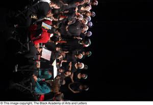 Primary view of object titled '[Chorus Singing on Stage with Soloist]'.