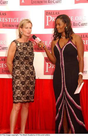 Primary view of object titled '[Paige Nash Speaking to Interviewer on Red Carpet]'.