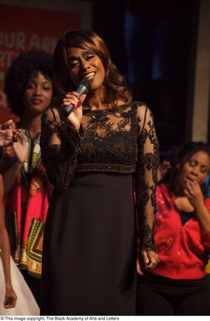 Primary view of object titled '[Jennifer Holliday Performing on Stage]'.