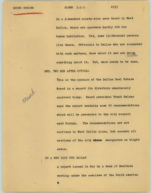 Primary view of object titled '[News Script: Slums]'.