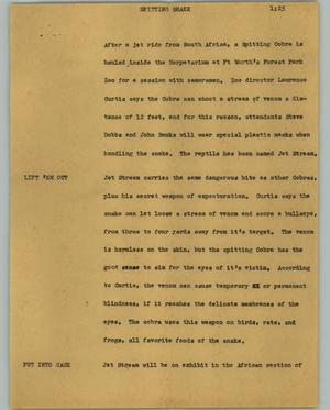 Primary view of object titled '[News Script: Spitting snake]'.