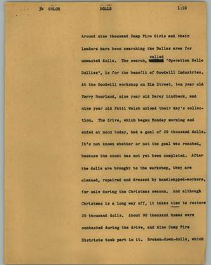 Primary view of object titled '[News Script: Dolls]'.