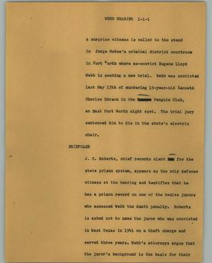 Primary view of object titled '[News Script: Webb hearing]'.