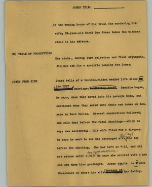 Primary view of object titled '[News Script: Jones trial]'.