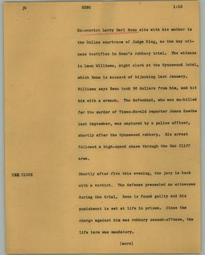 Primary view of object titled '[News Script: Reno]'.