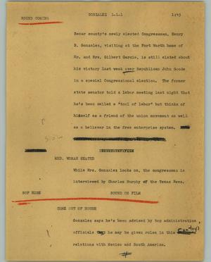 Primary view of object titled '[News Script: Gonzalez]'.