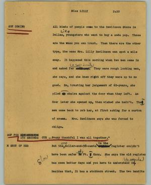Primary view of object titled '[News Script: Miss LILLY]'.