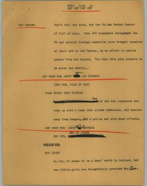 Primary view of object titled '[News Script: Toys]'.