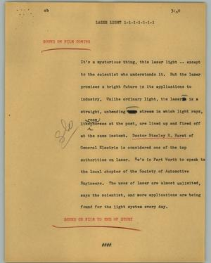 Primary view of object titled '[News Script: Laser light]'.