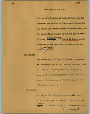 Primary view of object titled '[News Script: Bank stock]'.