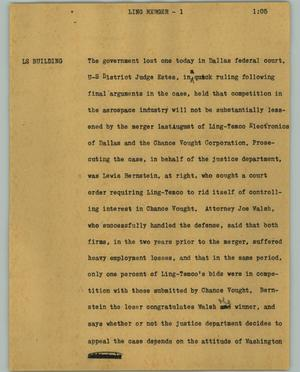 Primary view of object titled '[News Script: Ling merger]'.