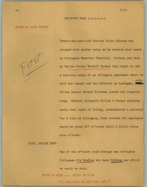 Primary view of object titled '[News Script: Shooting folo]'.