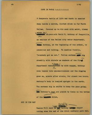 Primary view of object titled '[News Script: Cave in fatal]'.