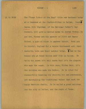 Primary view of object titled '[News Script: Richey]'.