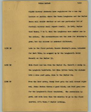 Primary view of object titled '[News Script: Texas Baylor]'.