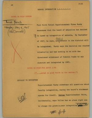 Primary view of object titled '[News Script: School integration]'.