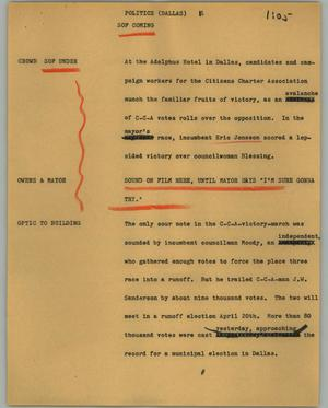 Primary view of object titled '[News Script: Politics (Dallas)]'.