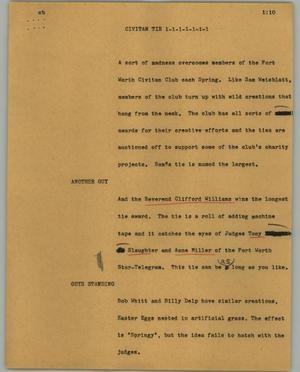 Primary view of object titled '[News Script: Civitan tie]'.
