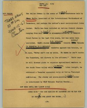 Primary view of object titled '[News Script: Hoffa]'.