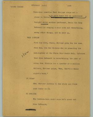 Primary view of object titled '[News Script: McDonald]'.