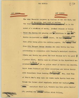 Primary view of object titled '[News Script: Tex Morris]'.